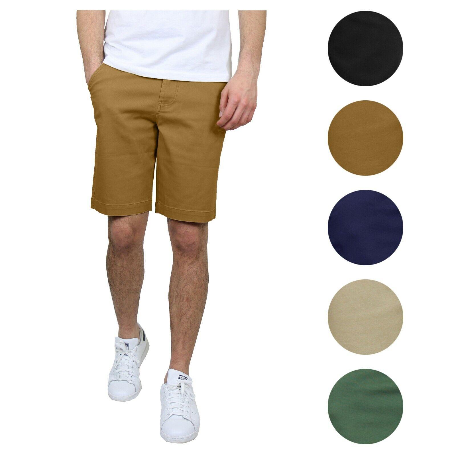 Mens Stretch Chino Shorts Flat Front 5 Pocket Summer Casual