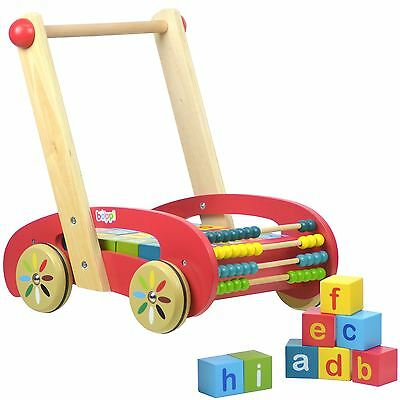 boppi® Wooden Baby Toddler Infant Activity Walker with Alphabet Number Blocks