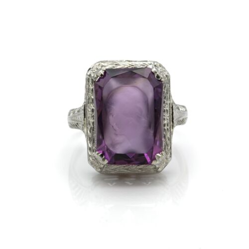 18K WHITE GOLD VINTAGE VICTORIAN STYLE AMETHYST CARVED CAMEO RING ORNATE 1069B-6
