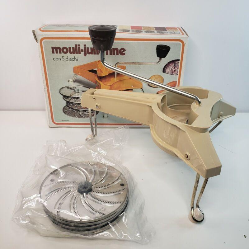 VTG Mouli Julienne 445 Orange Food Slicer Grater 5 Discs France *OPEN BOX*