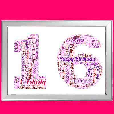 16th BIRTHDAY WORD ART - FULLY PERSONALISED GIFT IDEA FOR SIXTEENTH BIRTHDAY 16 - 16 Birthday Ideas