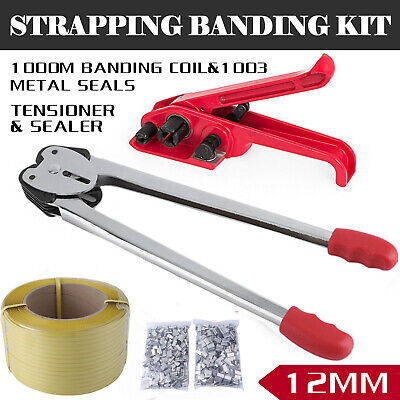 Heavy Duty Pallet Strapping Banding Kit Tensioner Tool Sealer Coil Reel Us