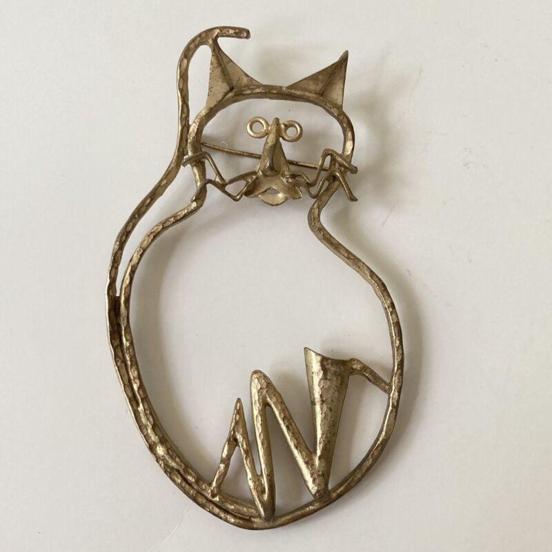 Vintage Modern Cat Silver Brooch Pin Brutalist Style Kitten Lover