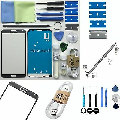 Samsung Galaxy Note 3 Front Glass lens Screen Replacement Repair Kit JET BLACK
