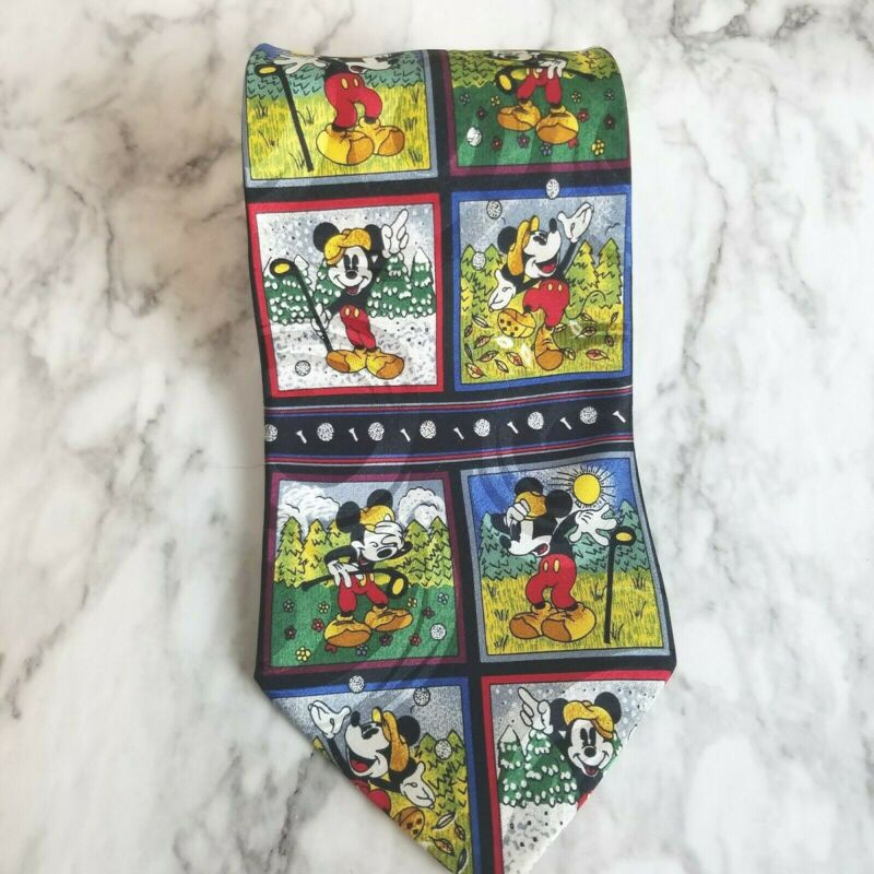 Disney Mickie Unlimited 100% Silk Mickey Mouse Golf Theme Tie