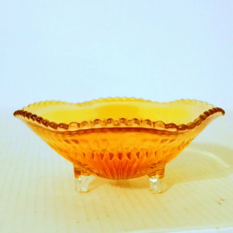 Jeanette Carnival Glass Footed Marigold Candy Dish Bowl Iridescent