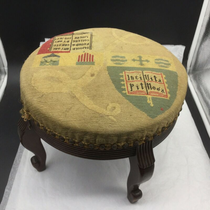 Antique Wellesley College University Needlepoint Hand Crafted Foot Stool