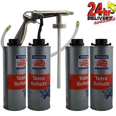 4 X 1L Tetrosyl Tetraschutz Shutz Body Rust Protector Underseal With Spray Gun