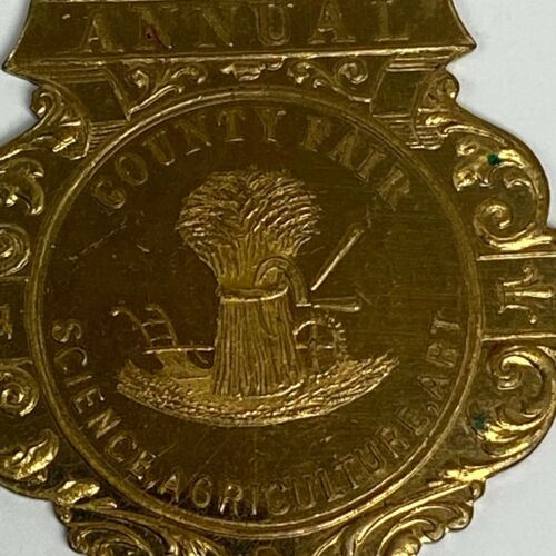 VTG Milwaukee WI Annual County Fair Science Agriculture Medal Badge Schwaab S&S