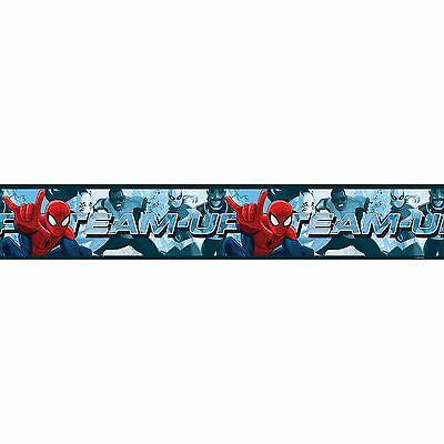 SPIDERMAN TEAM UP SELF ADHESIVE WALLPAPER BORDER 5M LONG KIDS BEDROOM