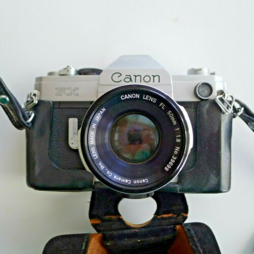 Vintage Canon FX, 35mm SLR Film Camera  with Case and Carry Strap