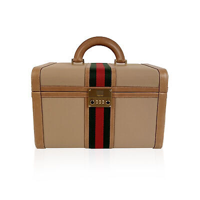 Authentic Gucci Vintage Beige Canvas Hard Train Case Beauty Bag