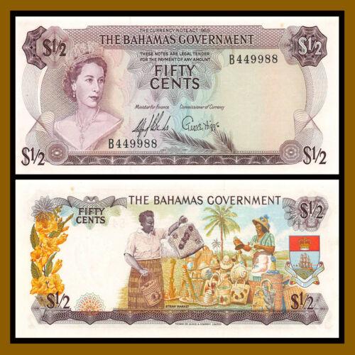 Bahamas 1/2 Half Dollar (50 Cents), L.1965 P-17a Fancy (SN B449988) QEII Unc