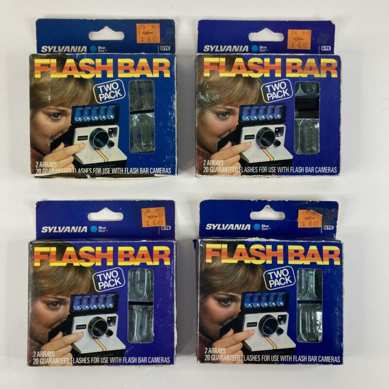 Lot of 4 Boxes of Sylvania Blue Dot Flash Bar 2 Pack - 80 Flashes Total NOS