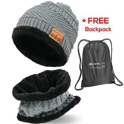 Bluetooth Wireless Hat with Headphones Music Beanie With Scarf Set Women and Men