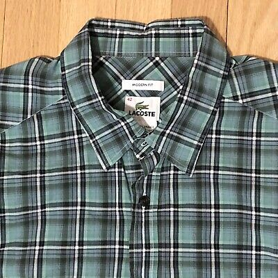 Lacoste mens shirt 42 Modern Fit Green Checkered Plaid Long Sleeve Button Down