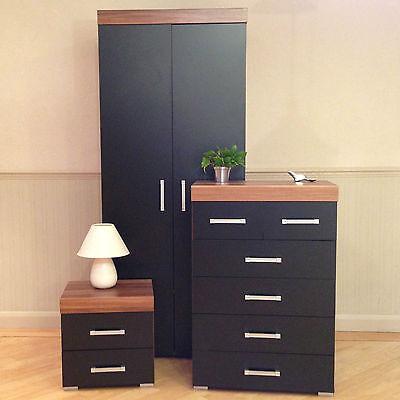 Bedroom Furniture Set *Black & Walnut* Wardrobe 4+2 Drawer Chest Bedside Cabinet