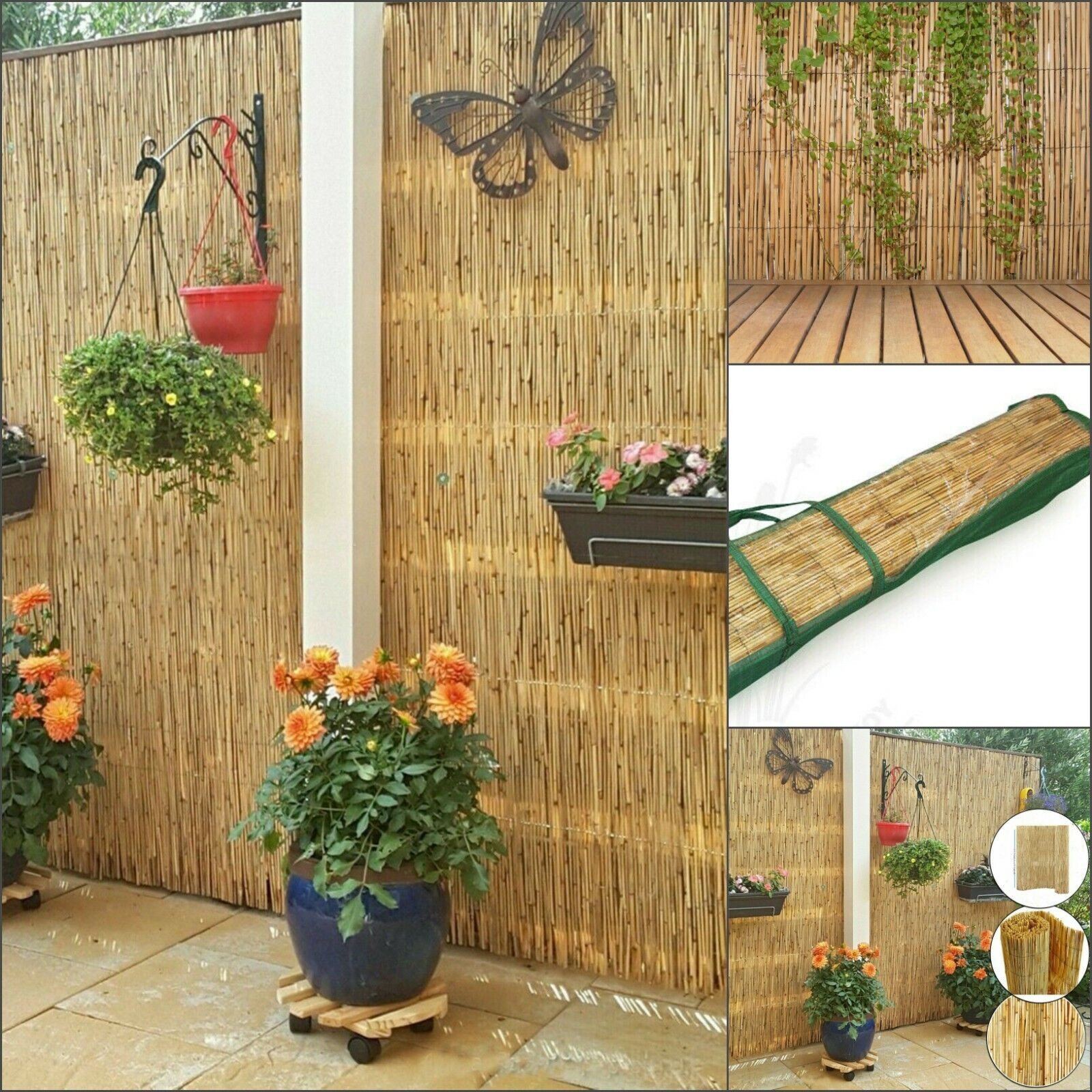 garden fence - Natural Peeled Reed Fence Screening Garden Privacy Wind Break Wall Fencing 4m