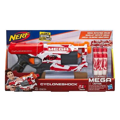 Nerf Mega CycloneShock Toy Blaster With 6 Nerf Mega Darts Battle Camo N-Strike