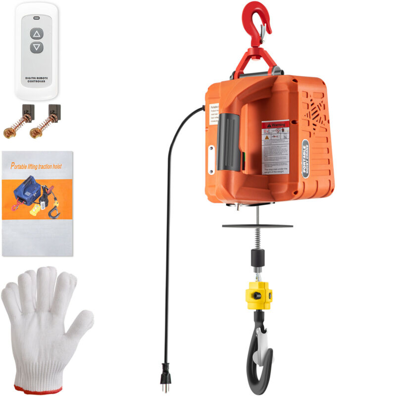 VEVOR 1100lbs Portable Electric Hoist Winch w/ Wireless Remote Control 25ft Lift