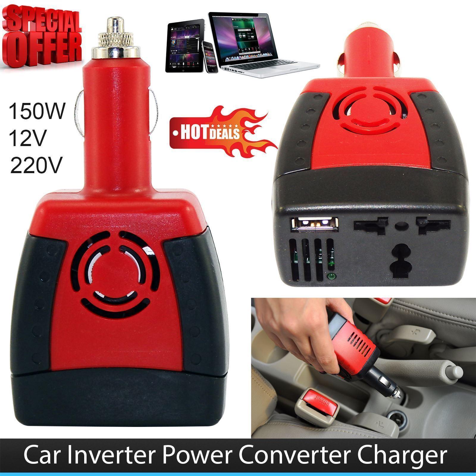 12V DC to 240V AC 150W Power Inverter USB Car Boat for PSP NDS Laptop Charger Q@