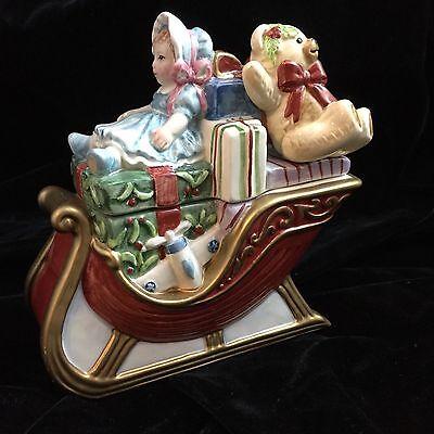 Fitz & Floyd 2003 Teddy's Christmas Sleigh Lidded Box Candy Jar Trinket w Box