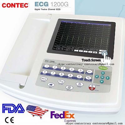 Portable Ecgekg Machine Digital 12 Channels 12 Lead Electrocardiographtouchus