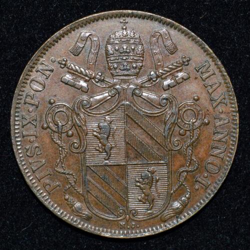 Italy, Papal States Vatican Pius IX 1846 IR 1 Baiocco BRN UNC SCARCE hi Grade Co
