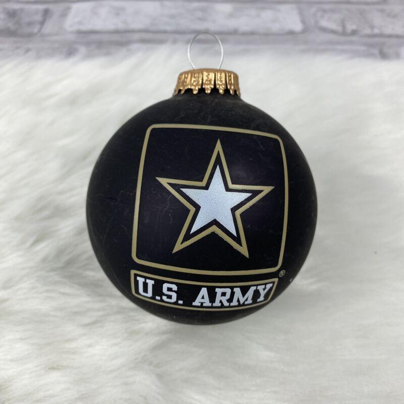 Christmas By Krebs Christmas Glass Ornament US ARMY Black Gold White Star
