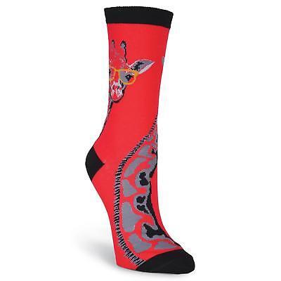 K.Bell-Women's Giraffe with Glasses Crew Socks-Fun-Cute socks for animal - Giraffe Socks