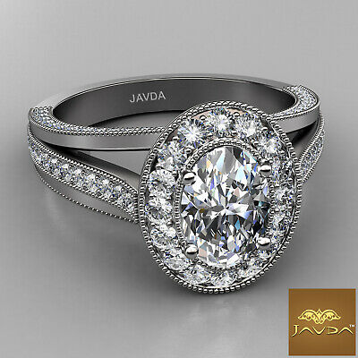 Oval Diamond Halo Pre-Set Bridal Engagement Ring GIA E VVS1 18k White Gold 1.4Ct 1