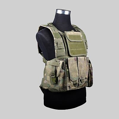 FG Military Airsoft Paintball Tactical CS Loop Protector Vest With 3 Pouches