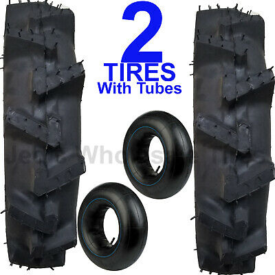 Two New 5.00-12 Deep Lug R-1 Tires With Tubes Compact 4wd Farm Tractors 500-12
