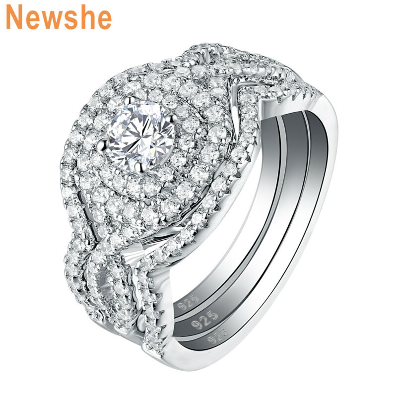 Newshe Engagement Wedding Ring Set 2ct 925 Sterling Silver Round White Cz 5-12
