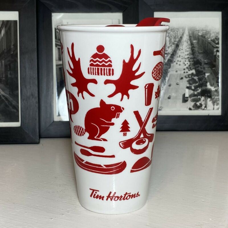 "TIM HORTONS 2018 WHITE & RED  CANADA ""EH""  TRAVEL COFFEE MUG 6"" TALL w/Lid EUC"