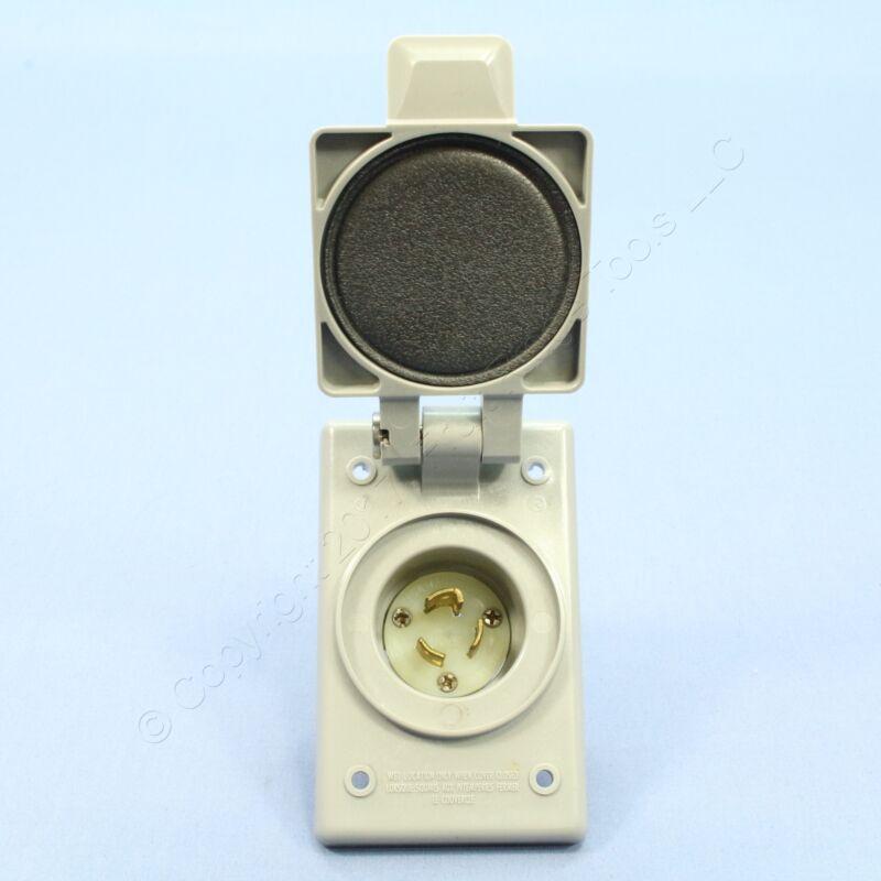 Leviton Weather Resistant Cover Locking Flanged Inlet Plug NEMA L5-15P 4716-FWP