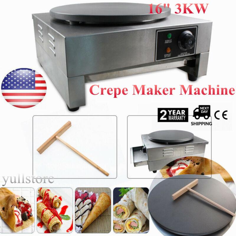 "16"" 3KW Commercial Electric Single Crepe Maker/Kitchen Pancake Machine Nonstick"