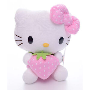 Adorable Plush Pink Bowtie Strawberry Hello Kitty Plush Doll Toy 7'' Brand New