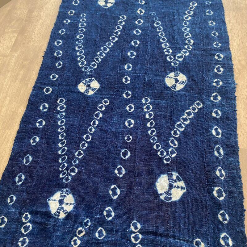 Handwoven African Indigo Shibori, Tie Dye Mudcloth Scarf Shawl