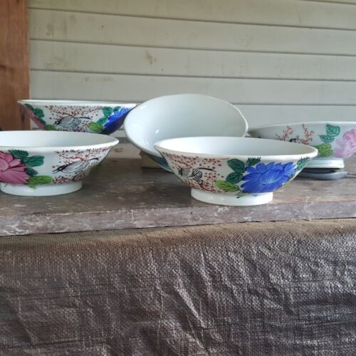 Set of five vintage asian bowls, birds and mums 7 inch