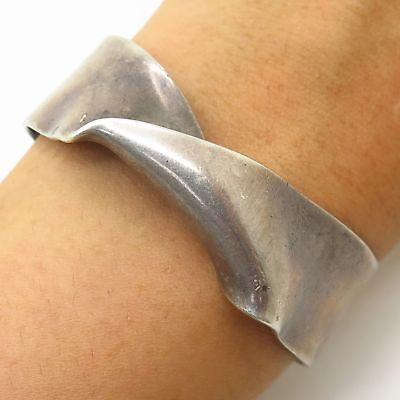 """Vtg Signed 925 Sterling Silver Modernist Twist Design Wide Cuff Bracelet 5.5"""""""