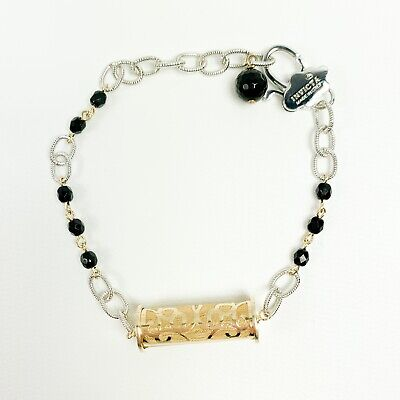 Invicta Womens Bracelet Black Onyx Yellow Gold Plated Lantern Silver tone New