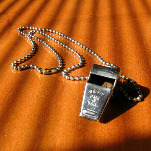 Vintage Metal Wilson Whistle w Chain Made USA Sports Coach Referee Collectors