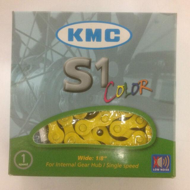 gelb KMC S1 Singlespeed BMX  Kette Fahrradkette 1/2 x 1/8 112 Glieder 112L