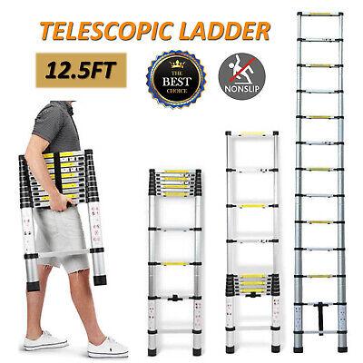 12.5ft Step Ladder Telescopic Folding Lightweight Portable Aluminum Climb Ladder