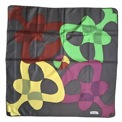 Vintage Scarf Styles -1920s to 1960s Vintage Ladies Scarf Geometric Multi Color Square Polyester Signed 29x30 $4.99 AT vintagedancer.com