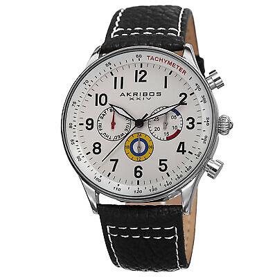 Men's Akribos XXIV AK751SSW Swiss Multifunction Tachymeter Black Leather Watch