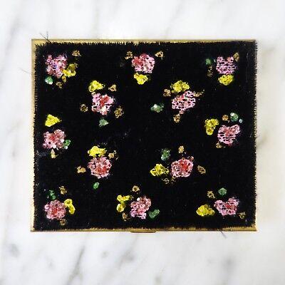 RARE Vintage Brass Case Mirror Compact Flowers Painted on Black Velvet