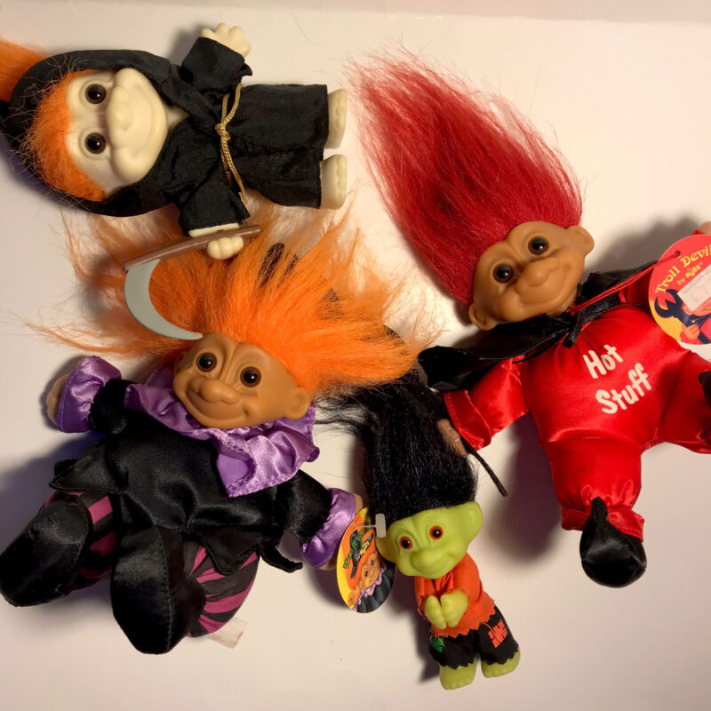Lot of 4 Collectable RUSS Halloween Troll Dolls (Rare)
