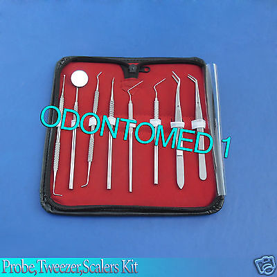 Dental Surgical Instruments Kit Probe Tweezers Scalers Dentist Tools 8pc Pr-156